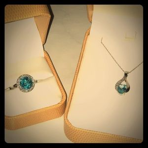 Blue Topaz and Diamond Pendant and Ring.